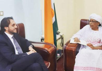 DIPLOMATIE : Mme Kané Aichatou Boulama a reçu en audience S.E.M. Marco Prencipe, Ambassadeur de la République de l'Italie au Niger